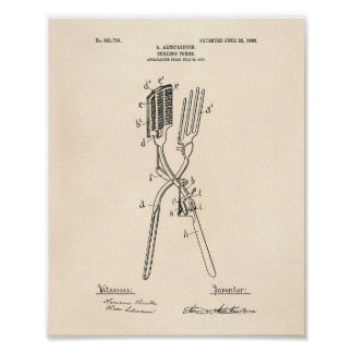 Curling Tongs 1908 Patent Art Old Peper Poster