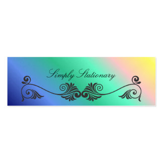 Curling Vintage Decorations with Rainbow Colors Business Card