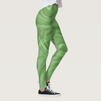 Curls Over Green Artwork Leggings