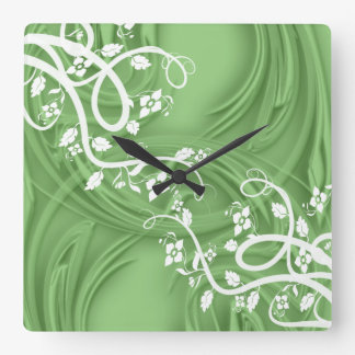 Curls Over Green With Filigree & Floral Square Wall Clock