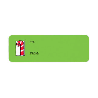 Curly Candy Cane green Gift Tag Label Return Address Label