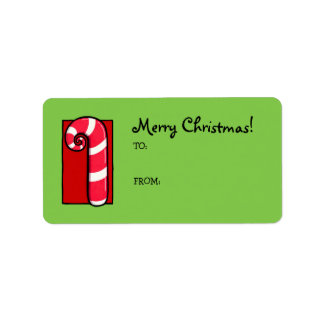 Curly Candy Cane green Gift Tag Label Address Label