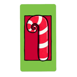 Curly Candy Cane green Sticker Label