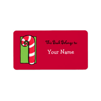 Curly Candy Cane red Bookplate Label