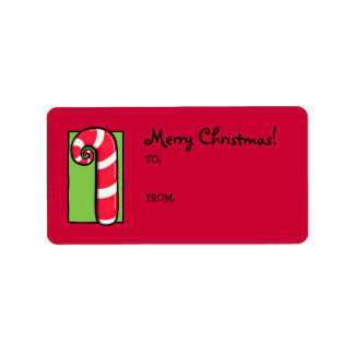 Curly Candy Cane red Gift Tag Label Address Label