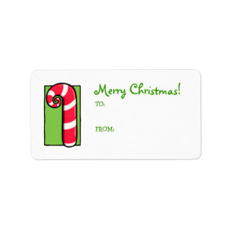 Curly Candy Cane white green Gift Tag Label Address Label