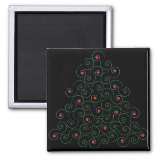 Curly Christmas Tree Black Magnet