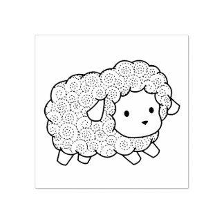 Curly Coat Little Sheep Lamb Rubber Stamp