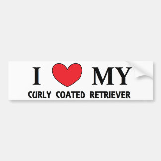 curly coat ret love bumper sticker