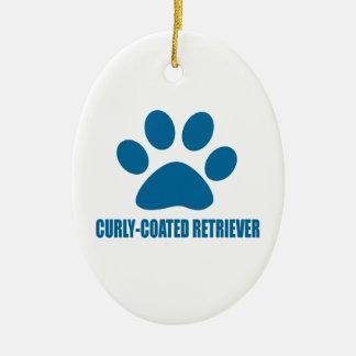 CURLY-COATED RETRIEVER DOG DESIGNS CERAMIC ORNAMENT