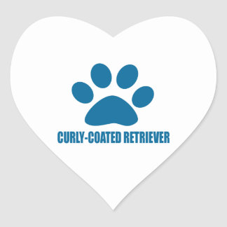CURLY-COATED RETRIEVER DOG DESIGNS HEART STICKER