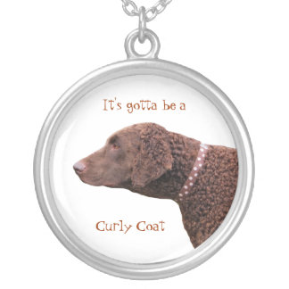 Curly Coated Retriever dog necklace, gift idea Round Pendant Necklace