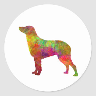 Curly Coated Retriever in watercolor Classic Round Sticker