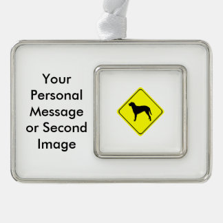 Curly Coated Retriever Warning Sign Love Dogs Silver Plated Framed Ornament