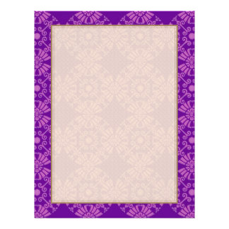 Curly Cute Flowers - Pink on Purple Flyer Design