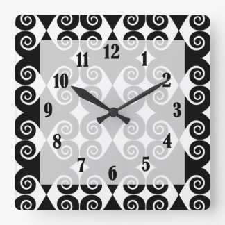Curly Diamond Pattern Square Wall Clock