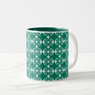 Curly Diamond Pattern Two-Tone Coffee Mug