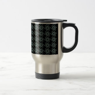 Curly Flower Pattern - Pale Blue on Black Mug