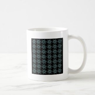 Curly Flower Pattern - Pale Blue on Black Mugs