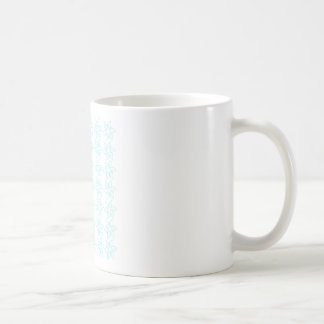 Curly Flower Pattern - Pale Blue on White Coffee Mugs