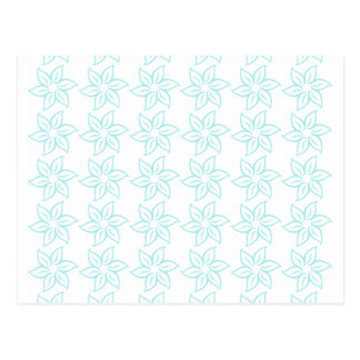 Curly Flower Pattern - Pale Blue on White Post Cards