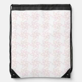 Curly Flower Pattern - Pale Pink on White Drawstring Backpack