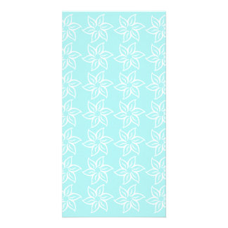 Curly Flower Pattern - White on Pale Blue Photo Card
