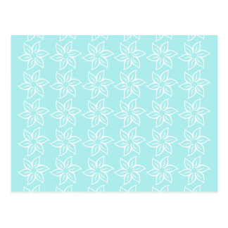 Curly Flower Pattern - White on Pale Blue Postcards