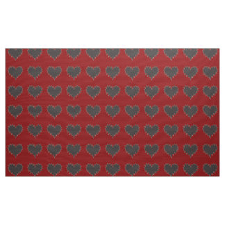 Curly Heart Black on Red Fabric