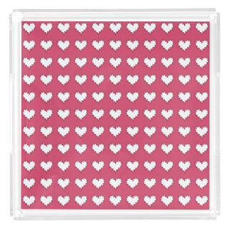 Curly Heart White on Dark Pink Perfume Tray