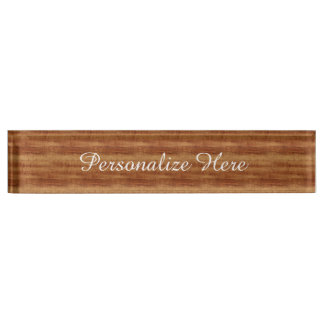 Curly Koa Acacia Wood Grain Look Nameplate