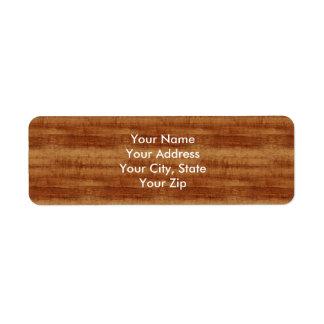 Curly Koa Acacia Wood Grain Look Return Address Label