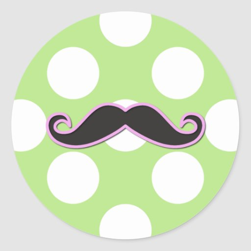 Curly Moustache, Polka Dots - Black Pink Green Round Stickers