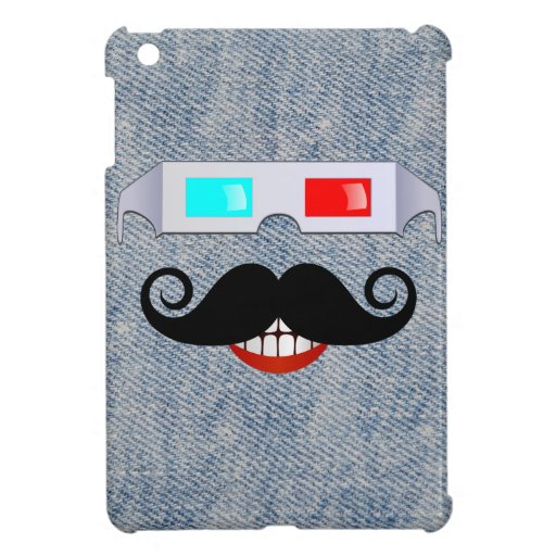 Curly Mustache, 3D Glasses and Faded Denim Pattern Case For The iPad Mini