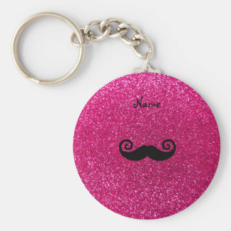 Curly mustache neon hot pink glitter key chains