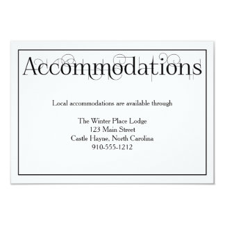 Curly Print Wedding Accommodations Details Card
