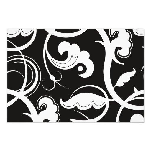 Curly Swirls (Curved Swirls) - Black White Art Photo