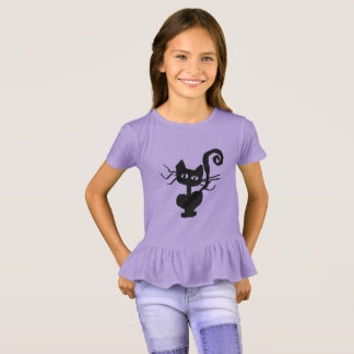 Curly Tail Cartoon Kitty Girls' Ruffle T-Shirt