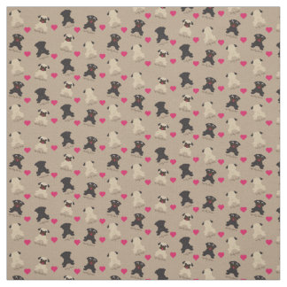 Curly Tail Squishy Faces Pug Fabric