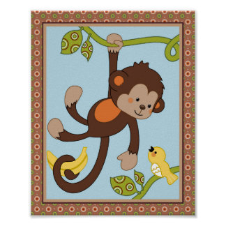 Curly Tails -  Monkey and Bird Nursery/Kids Art Poster