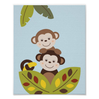 Curly Tails Monkey Nursery Wall Art Print 8X10