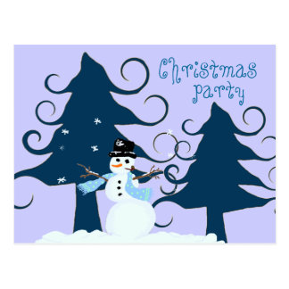 Curly Trees Blue Christmas Party Invitation Postcard