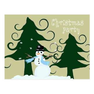 Curly Trees Christmas Party Invitation Postcard