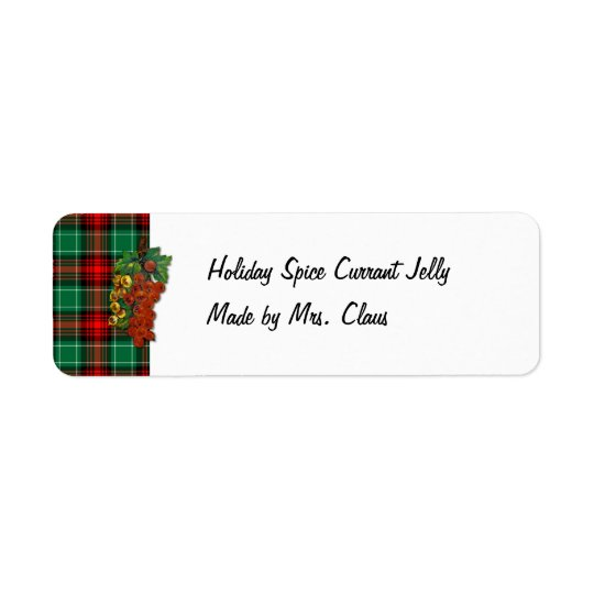 Currants Red Green Plaid Holiday Recipe Labels
