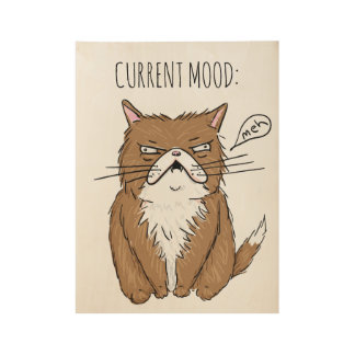 Current Mood Meh Funny Grumpy Cat Drawing Poster