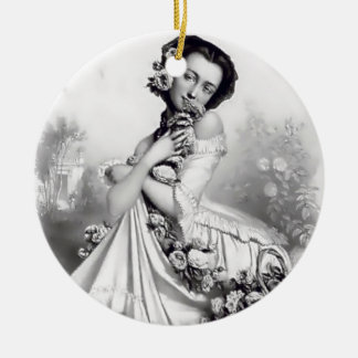 Currie & Ives Lady with roses Christmas Ornament
