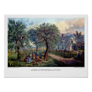 Currier & Ives: American Homestead Autumn Poster