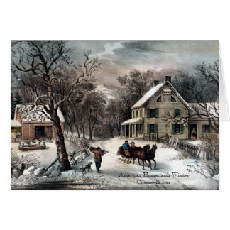 Currier & Ives - Greeting Card - Homestead Winter