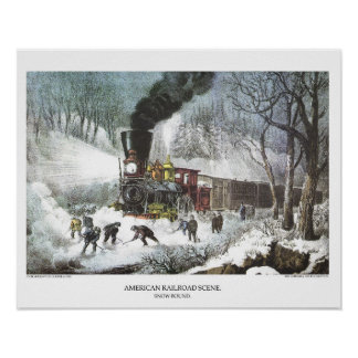 Currier & Ives Lithograph: American Railroad Scene Poster