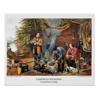 Currier & Ives Lithograph: Camping in the Woods Poster